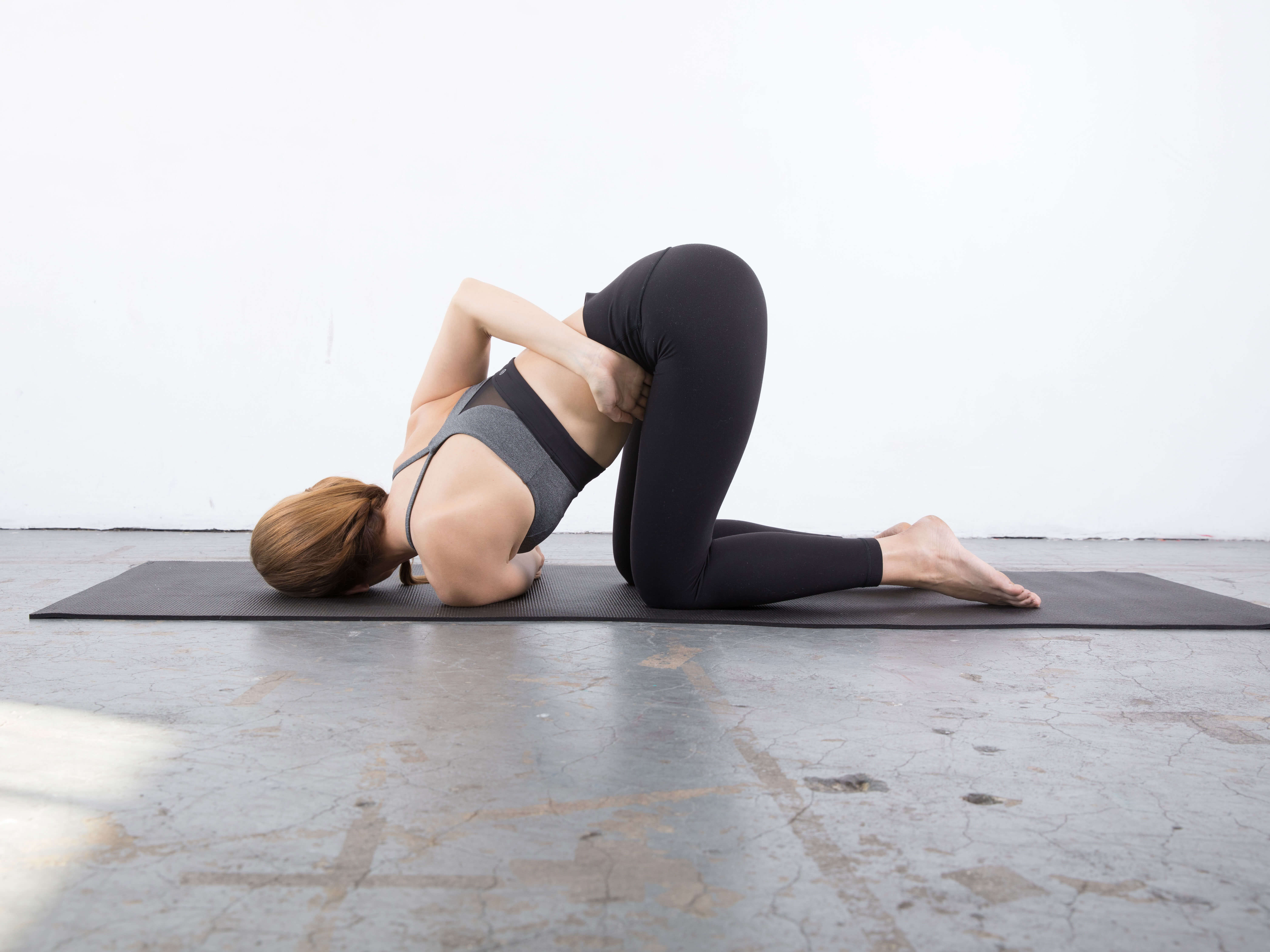 Second modification for the Thread the Needle Shoulder Stretch : yin yoga poses for the shoulder