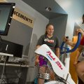 Get fit and stay fit - woman on bike in lab